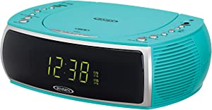 Jensen Turquoise Modern Home CD Tabletop Stereo Clock Digital AM/FM Radio CD Player Dual Alarm Clock Stereo CD Top-Loading Disc Player | USB Charging Port DV 5V 800mA | Headphone Jack | 0.9 Display