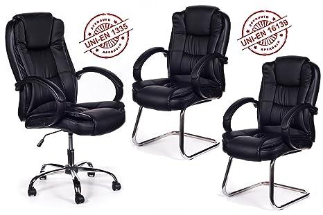 Poltrona Ufficio Elegante : Tris poltrona ufficio direzionale sedie sala attesa amazon