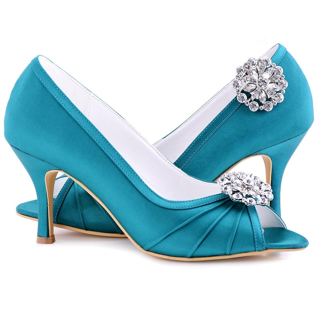 ElegantPark Fashion Clips AH Mujer Accesorios Rotonda Rhinstones zapato Clips 2 Pcs