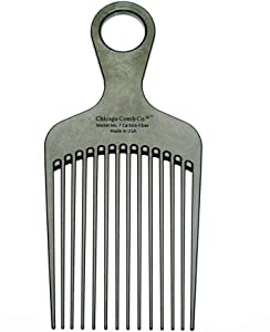 """Chicago Comb Model 7 Carbon Fiber, Made in USA, Detangling, Pick & Lift Comb, Men & Women, for Long, Curly & Thick Hair, Big Beards & Afros, Ultra Smooth, Strong & Light, Anti-Static, 6"""" (15 cm) Long"""