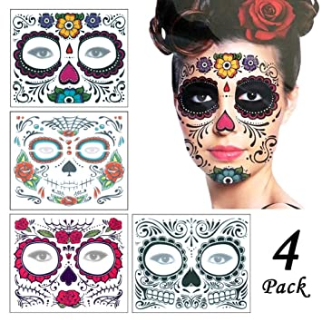 d29a080e546b3 Christmas Gifts Halloween Face Tattoo Stickers 4Pcs, ZYCC Fashion Skull  Temporary Tattoo Makeup Tattoo Decal