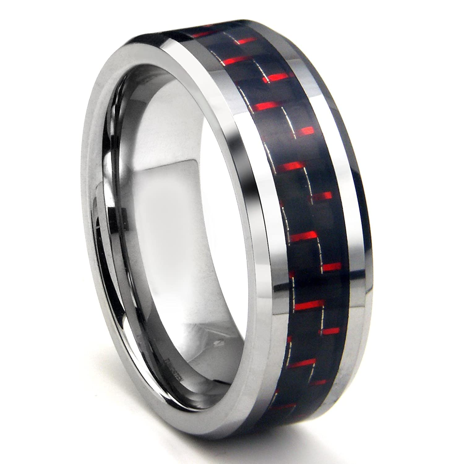 RED & BLACK Carbon Fiber Inlay 8MM Men s Tungsten Metal Ring
