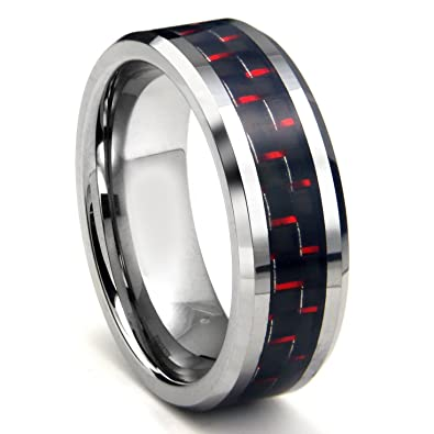 RED BLACK Carbon Fiber Inlay 8MM Mens Tungsten Metal RingAmazoncom