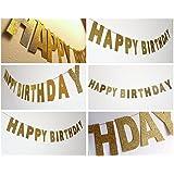SUNBEAUTY HAPPY BIRTHDAY 英文字のグリーターゴールドフラグ キラキラなペーパーガーランド 誕生日パーティーの飾り付け ホームデコレーション 写真背景