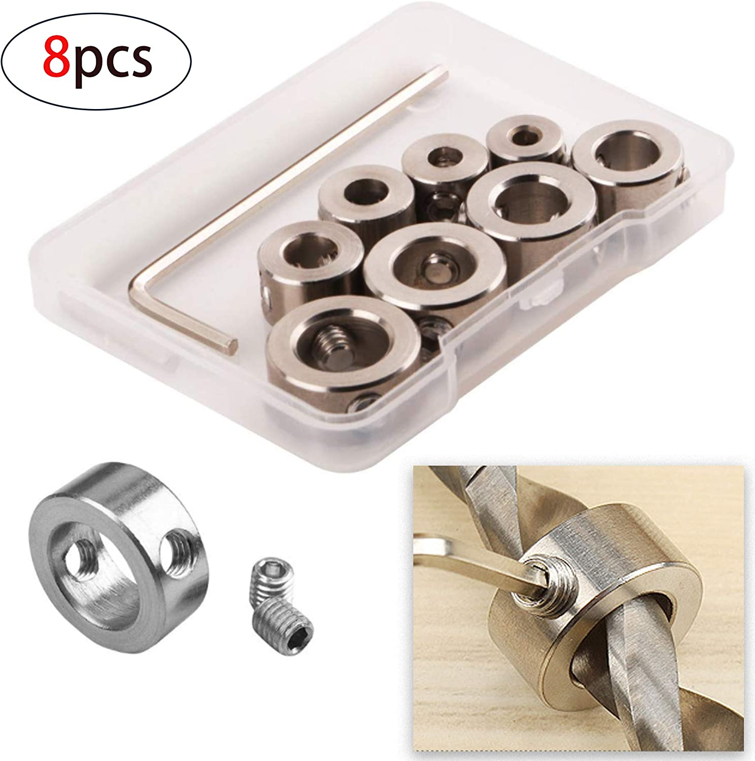 7pcs Drill Depth Stop Collars Dowel Shaft Chuck Hex Wrench Consistent