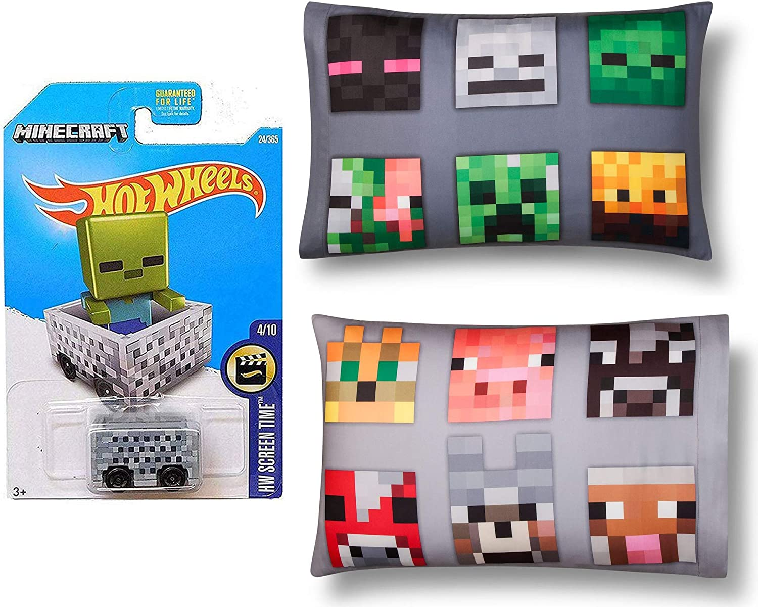 Hot Wheels Adventure Room Cart Compatible Minecraft 8-Bit Minecart die-cast Bundled with 2 Face Pillow Cases Bed Character Creature Series 3 Items: Amazon.es: Juguetes y juegos