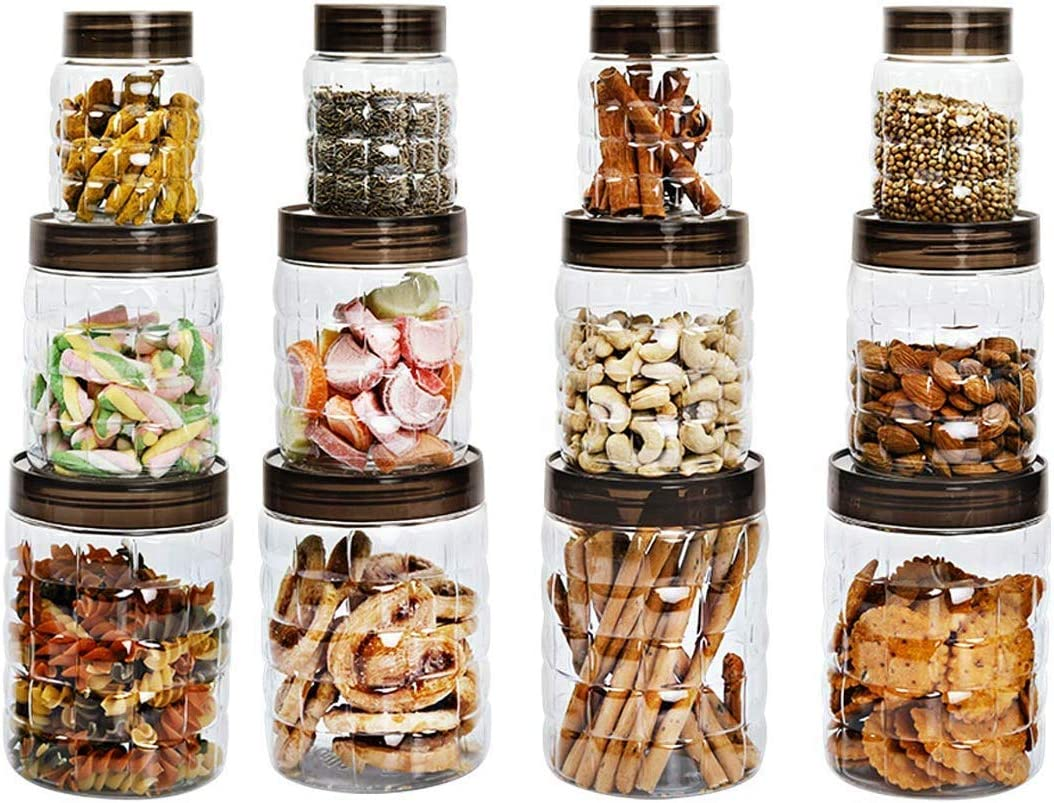 SS Ecom 18 Pcs Plastic Spice Jars Bottles Containers with Lid - Airtight Leak Proof Clear Plastic Canister Set for Dry Food, Peanut Butter, Honey and Jam - 10 oz, 22 oz, 40 oz