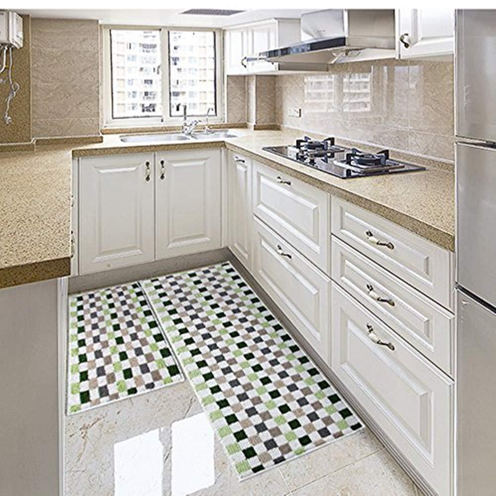 Eanpet Kitchen Rugs Sets 2 Piece Kitchen Floor Mats Non-Slip Rubber Backing Area rugs for kids Carpet Runner Rug Non-skid Kitchen Door Mats Inside Rug Pad Sets- 18''x 24'' + 18''x 47'', Green Mosaic