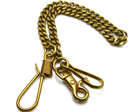 """17.7/"""" Solid Brass Waist chain with 2 hooks Trousers Jeans Wallet Keychain chain"""