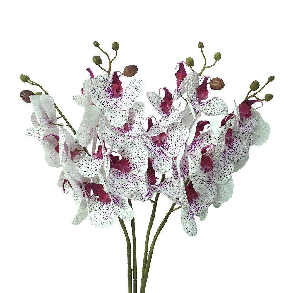 JAROWN 4 pz 30 Phalaenopsis Orchid Fiori Artificiali Rami Finti Tocco Reale Piante in Lattice per Artigianato Decorazione Matrimonio Ufficio (Arancione, Non Seta)