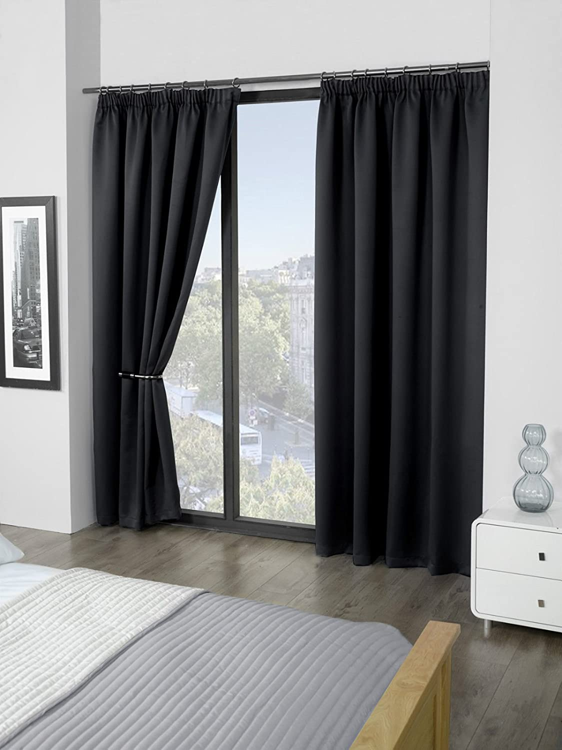 """RAYYAN LINEN Thermal Pencil Pleat Blackout Tape Top Pair of Curtains With Free Tiebacks (46"""" X 72"""", Black) 46"""" X 72"""" Black"""