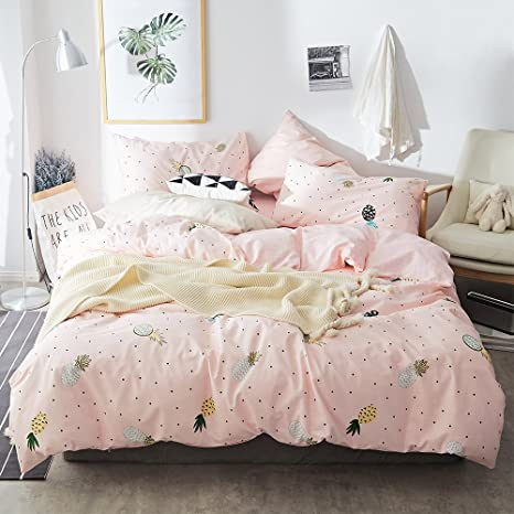 Twin Bed Bedding Sets.Highbuy Pineapple Twin Bedding Sets Girls Lightweight Cotton Duvet Cover Twin For Kids Teens Pink Fruit Print Duvet Cover Set With 2 Pillow