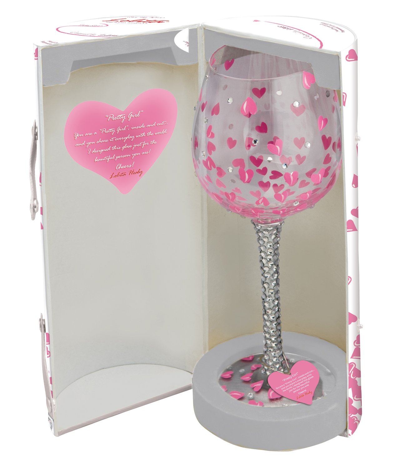 Lolita Hand Painted Wine Glass with Pink Hearts and Silver Sparkles