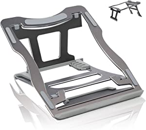 Hauyate Laptop Stand Adjustable Height for Desk,Foldable Portable Aluminum Computer Riser,Ergonomic Notebook Holder for MacBook Pro Air,Dell,HP,Lenovo and More 10-17 Inch (Space Gray)
