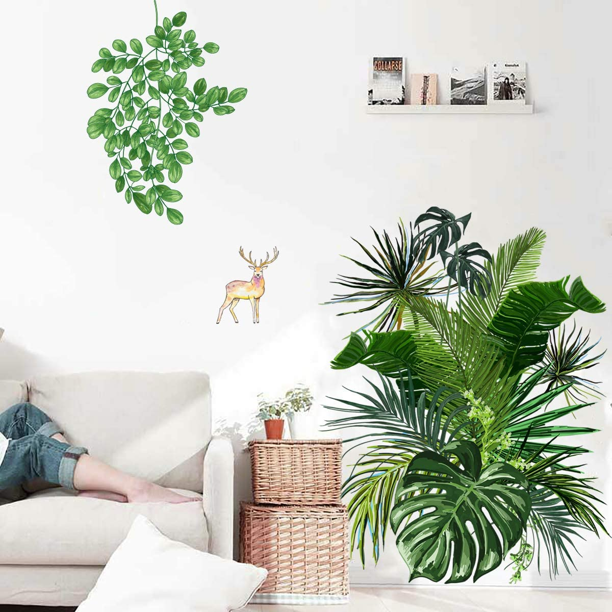 Green Plants Fawn Wall Sticker,Evergreen Giant Wall Decals Ivy Monstera Palm Tree Murals for Office Living Room Bedroom Decoration