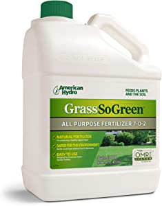 GrassSoGreen 7-0-2 Organic All-Purpose Lawn Fertilizer – No Harsh Chemicals – Apply Through Sprinkler System – for New and Established Lawns – 100% Organic – 1-Gallon Unit