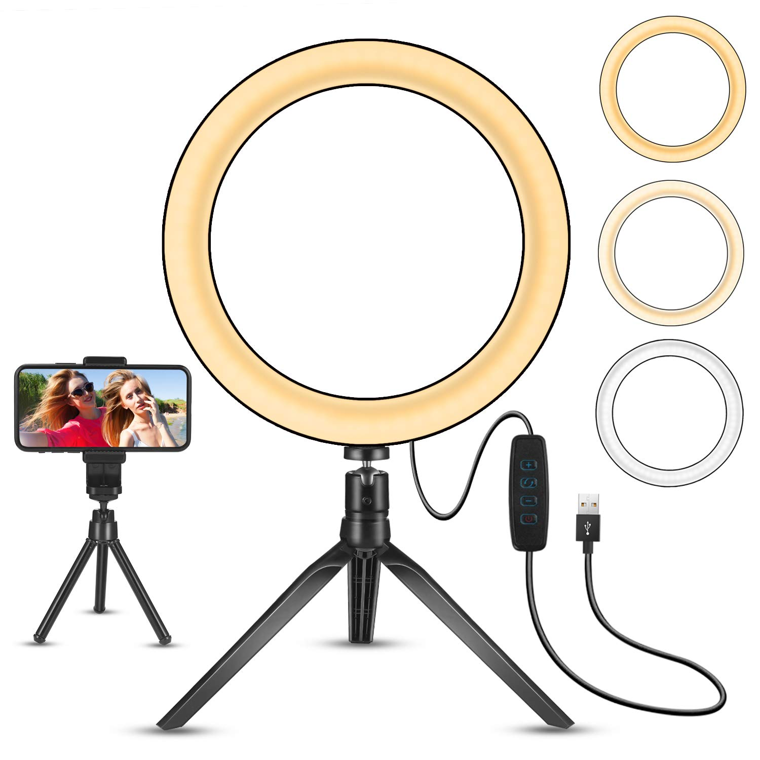 LED Ring Light 8'' with Stand Tripod for Makeup, Live Streaming & YouTube Video, Table LED Camera Light with Cell Phone Holder, Mini Dimmable Lamp with 3 Light Modes & 11 Brightness Level (8 inch)