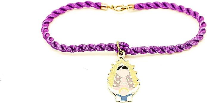 Kokomorocco Pulsera con Medalla Virgen de Guadalupe Mexicana de Plata de Ley esmaltada, cordón de Seda Trenzado ...