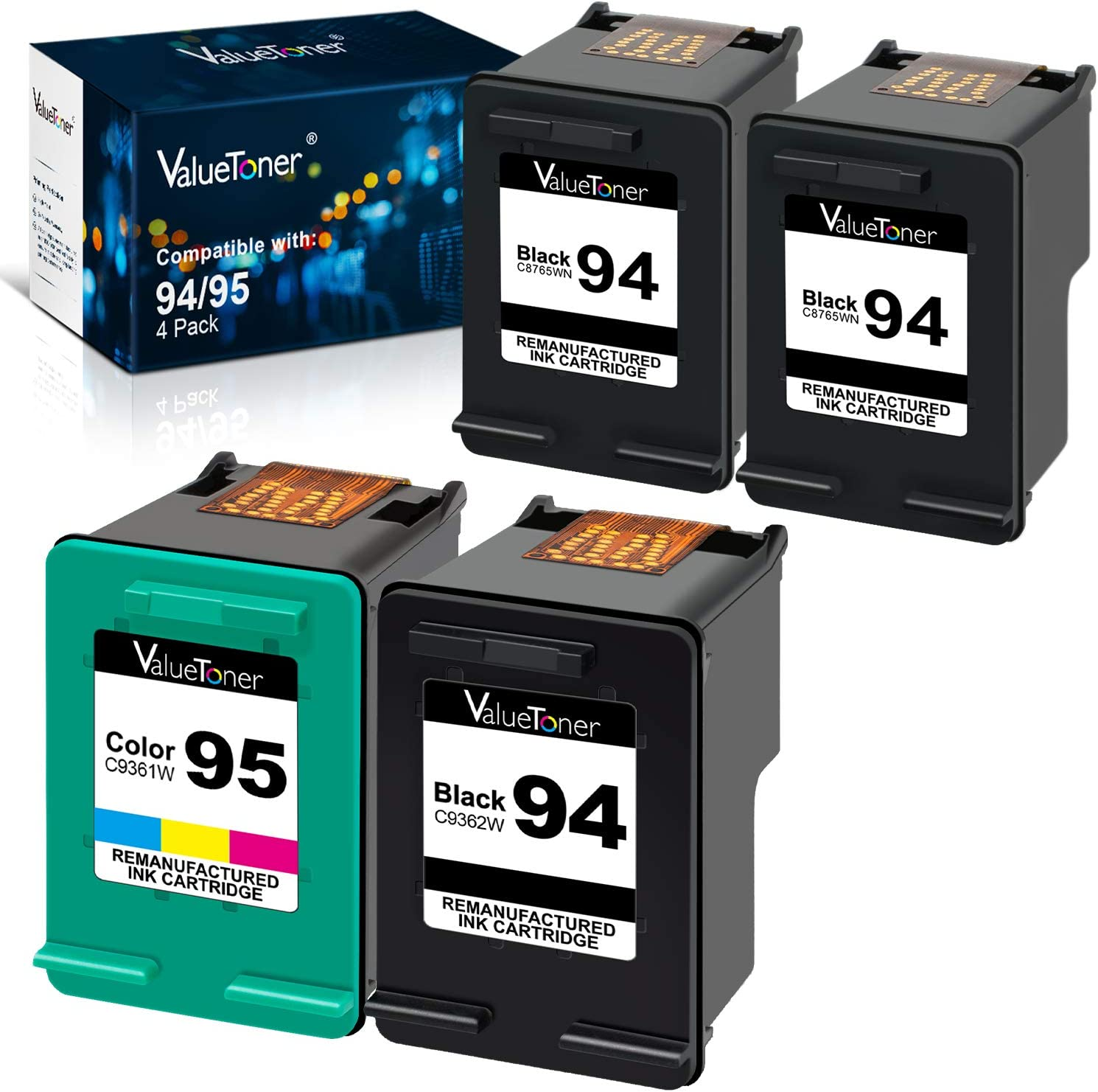 Valuetoner Remanufactured Ink Cartridges Replacement for HP 94 95 2 Pack (1 Black, 1 Color) Bundled with 2 Black