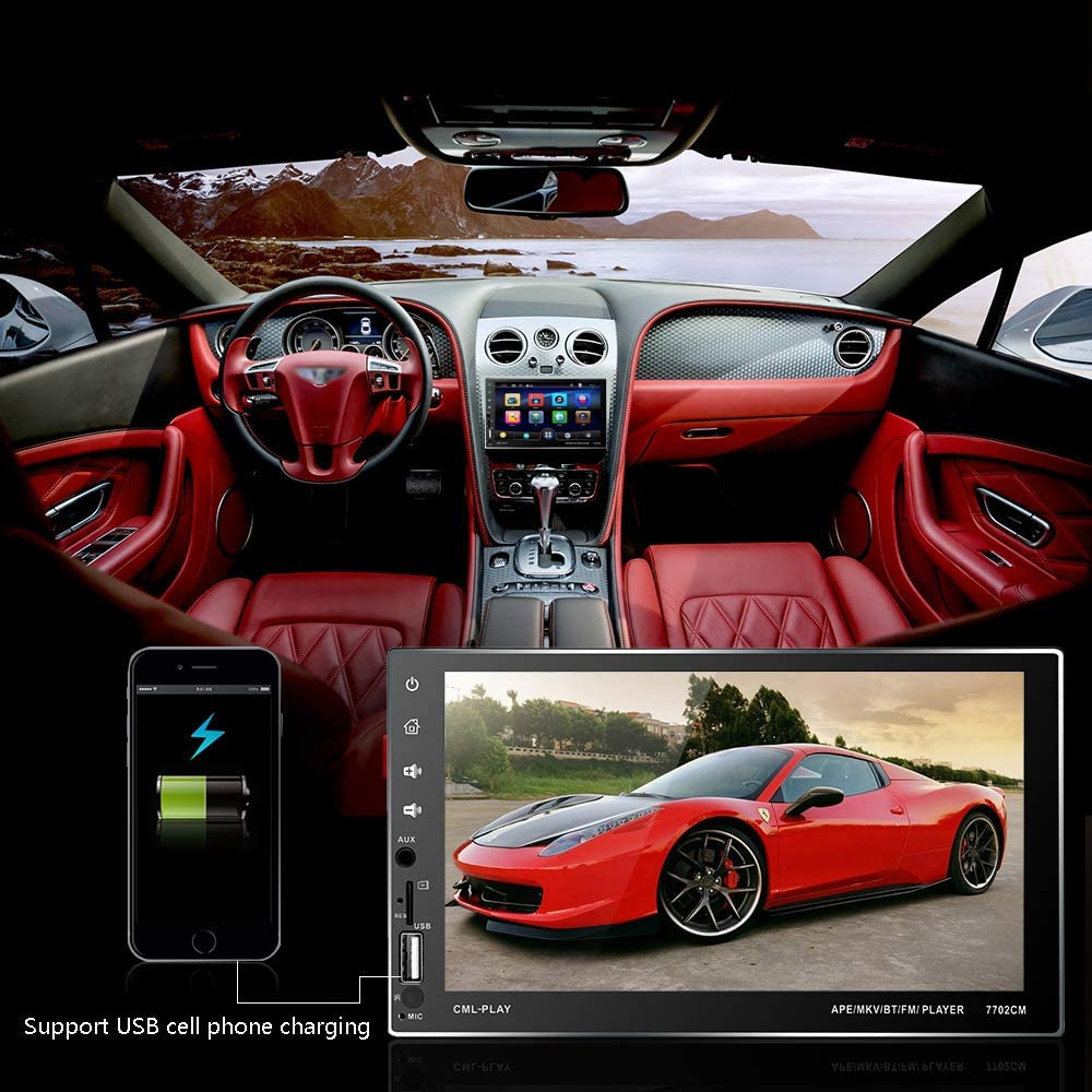 Double Din Car Stereo 7 Inch Touch Screen Car Radio Auto Indash Car Audio Head Unit Support Bluetooth//FM//USB//AUX//TF//Mirror Link//Rear View Input Car MP5 Player
