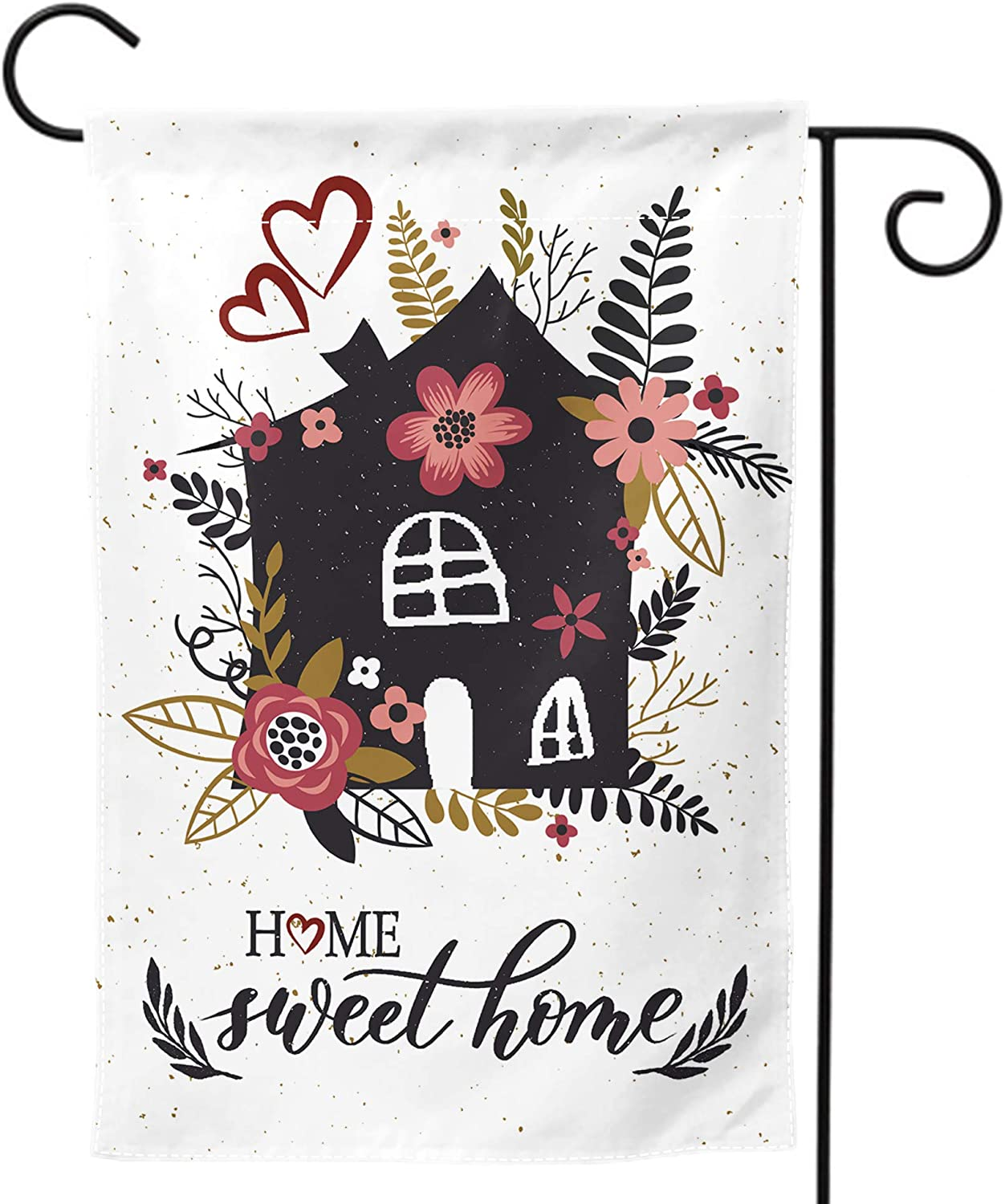 Granbey Home Sweet Home Garden Flag Color Flower Garden Flags Colorful Flowers Floral Print Banner Red Florals House Leaves Print Flag Pretty Four Seasons Garden Flag Rustic Farmhouse Decor 12x18in