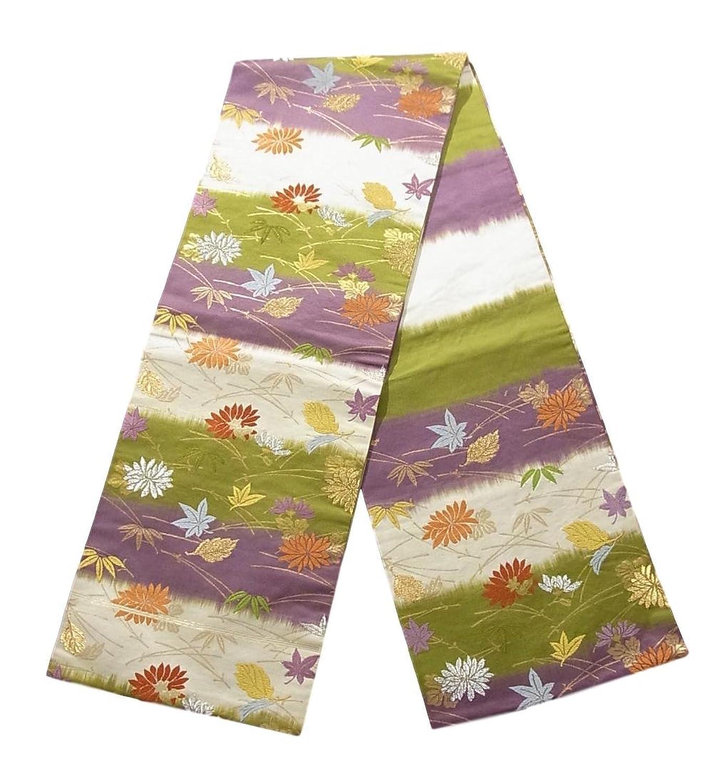 リサイクル 名古屋帯 横段に菊や楓 松笹文 正絹 B07DL1PCBS  -