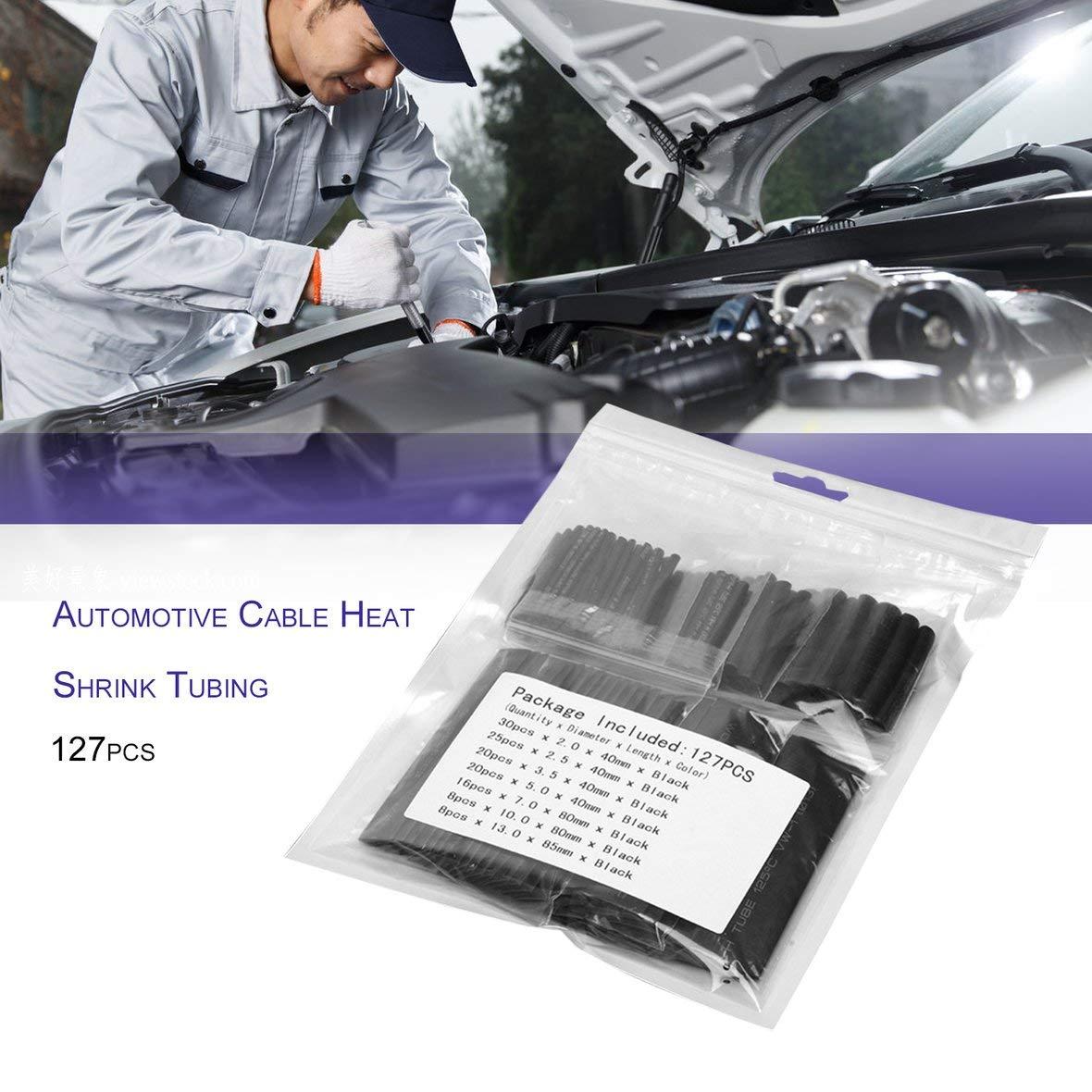 kit Assorti 127pcs Gaine thermor/étractable pour Cable /électrique pour Voiture Noir Protection de lenvironnement Gaine denveloppe de Tube Ignifuge
