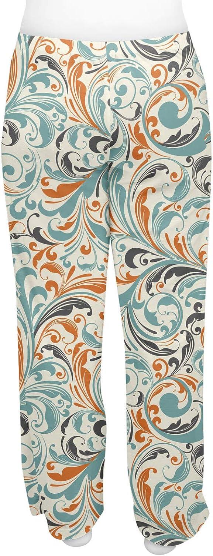 2XL Personalized RNK Shops Orange /& Blue Leafy Swirls Womens Pajama Pants