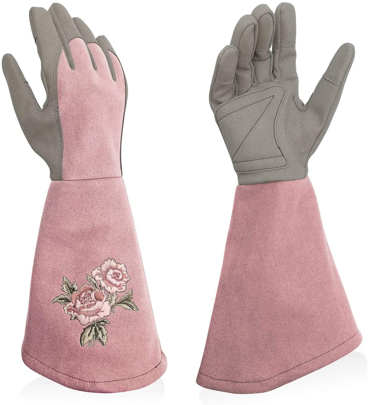 Intra-FIT Rose Embroidery Pruning Gloves Gardening Gloves with Extra Long Forearm Protection for Women and Men Purple Magenta Blue Olivegreen Lightblue Softpink Blushpink