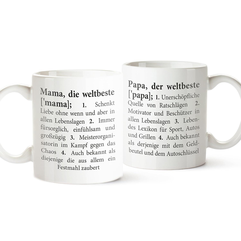 2er Set Tassen mit Aufdruck – Definition Mama und Papa – Standard ...