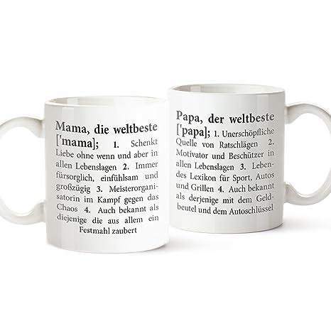 Tassenwerk Juego de 2 Tazas – Taza Definición Mamá y papá – Taza con Texto –