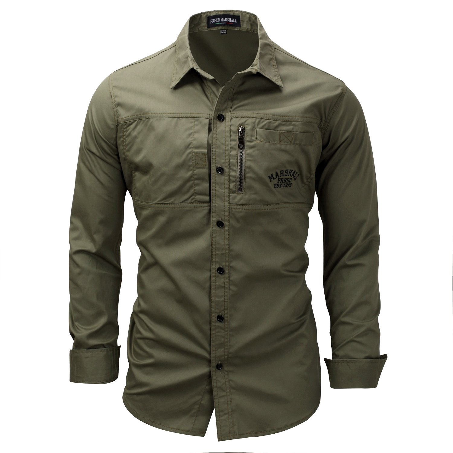 K-Men Men's Solid Color Outdoor Army Green Long-Sleeve Classic Woven Shirts XL