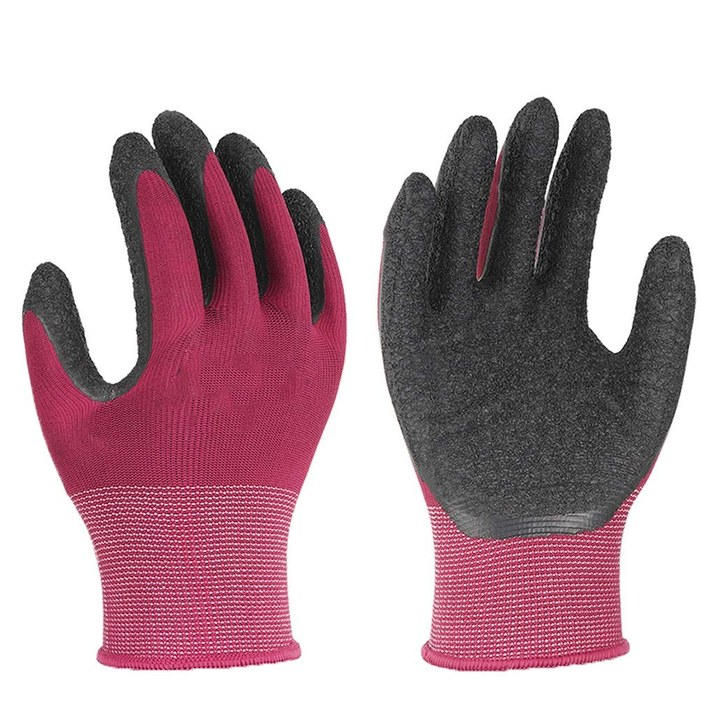 RYYAIYL Gloves Latex Coated Pink Rubber Work Gloves PU Coated Nylon Industrial Gloves(12 Pairs) by RYYAIYL