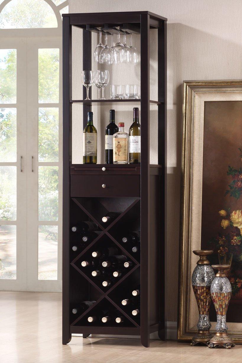Amazon.com: Roundhill Furniture Wood Wine Tower Cabinet, Espresso ...