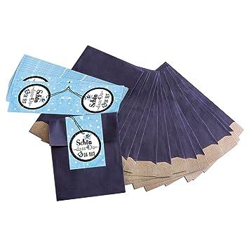 25 pequeñas bolsas de papel azules de regalo (9,5 x 14 cm ...
