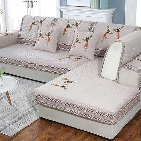 Nclon Funda para sofá Toalla de sofá Tela Verano,Algodón Anti-Que Patina Acolchado