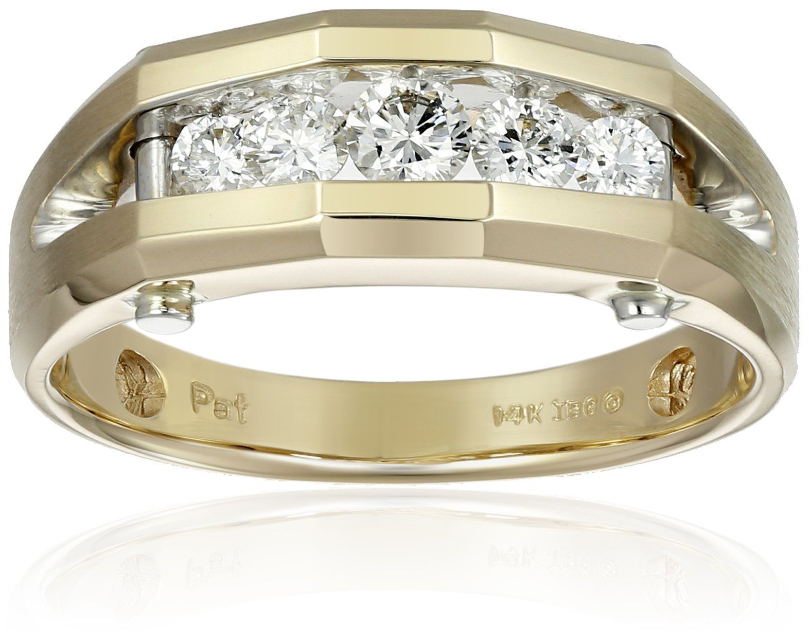 Men's 14k Yellow and White Gold Polished Finish Split Shank Diamond Ring (1/2 cttw, H-I Color, I1-I2 Clarity), Size 10