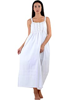 Cotton Lane White Cotton Classic Sleeveless Nightdress  Amazon.co.uk ... 1ea47123f