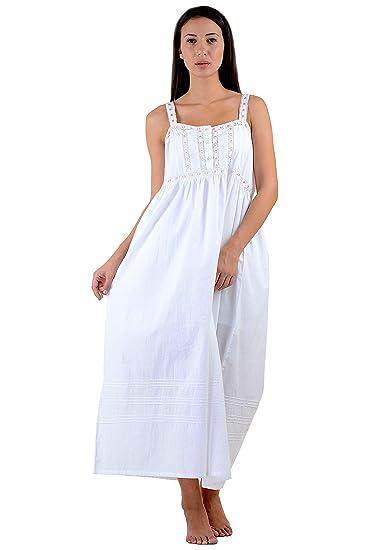 7dca73a456 Cotton Lane White Cotton Victorian Vintage Nightdress  Amazon.co.uk   Clothing