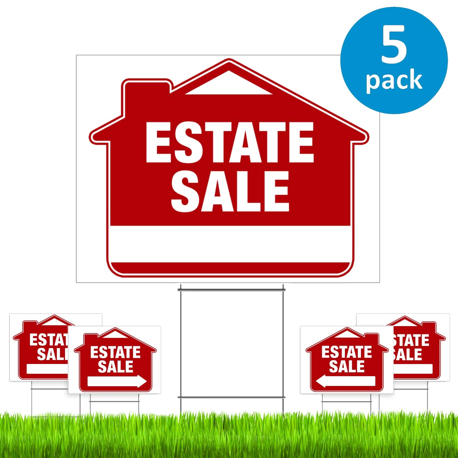 Estate Sale Signs with Stakes (5 Pack) - Premium Double-Sided Estate Sale Signs with Directional Arrows & Heavy Duty Yard Stakes (Large 18'' x 24'' Size) - New!