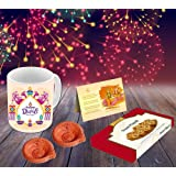 Aart Combo of 4 Happy Diwali Ceramic Mug Capacity 350 ml, Greeting Card, Handmade Diya and Sweets (Multicolor, AART_Di03_CCDS_D001)