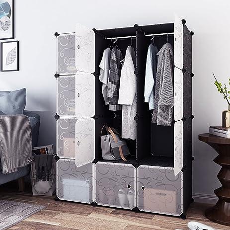 Tespo Portable Clothes Closet, Wardrobe Cabinet, Bedroom Armoire, Storage  Organizer With Doors,
