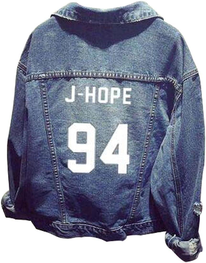 EMILYLE Unisex Felpa con Cappuccio Bangtan Boys BTS Giacca di Jeans Suga Jin Jimin Jung Kook J-Hope Rap-Mostro V Fans Cappotto