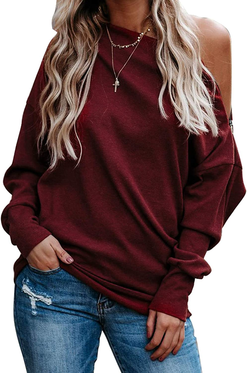 Women SolidColor Cold Shoulder Hoodie Backless Long Sleeve Zipper Casual Outfits