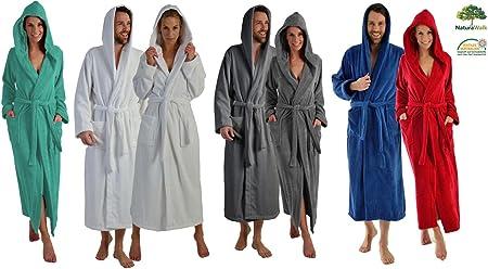 Albornoz largo o extra largo para hombre y mujer, de100% de algodón orgánico, con capucha, en 5 colores, de talla S a XXXXL, Bordeaux 125 Cm, xx-large: Amazon.es: Hogar