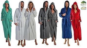 9cdf10e673 Lange oder extra lange Damen und Herren Bademäntel aus 100% BIO Baumwolle  mit Kapuze in