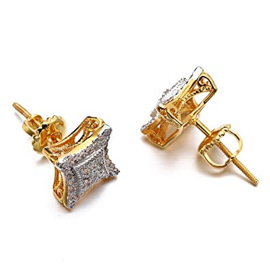 Hip Hop Men s Earrings Rhombus Solid Gold Platinum Plated CZ Stud Earrings  for Men ebae26118746