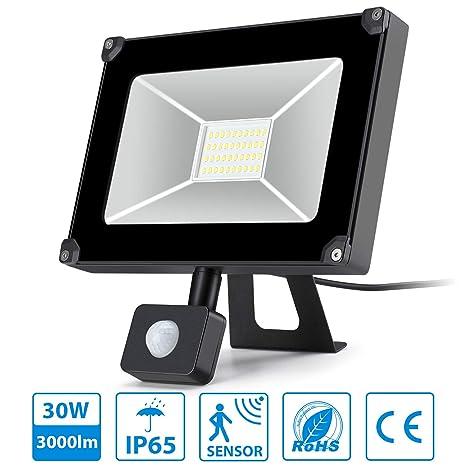 Oeegoo foco led con sensor de movimiento 30w alto brillo 3000lm 6000k Proyector LED exterior de