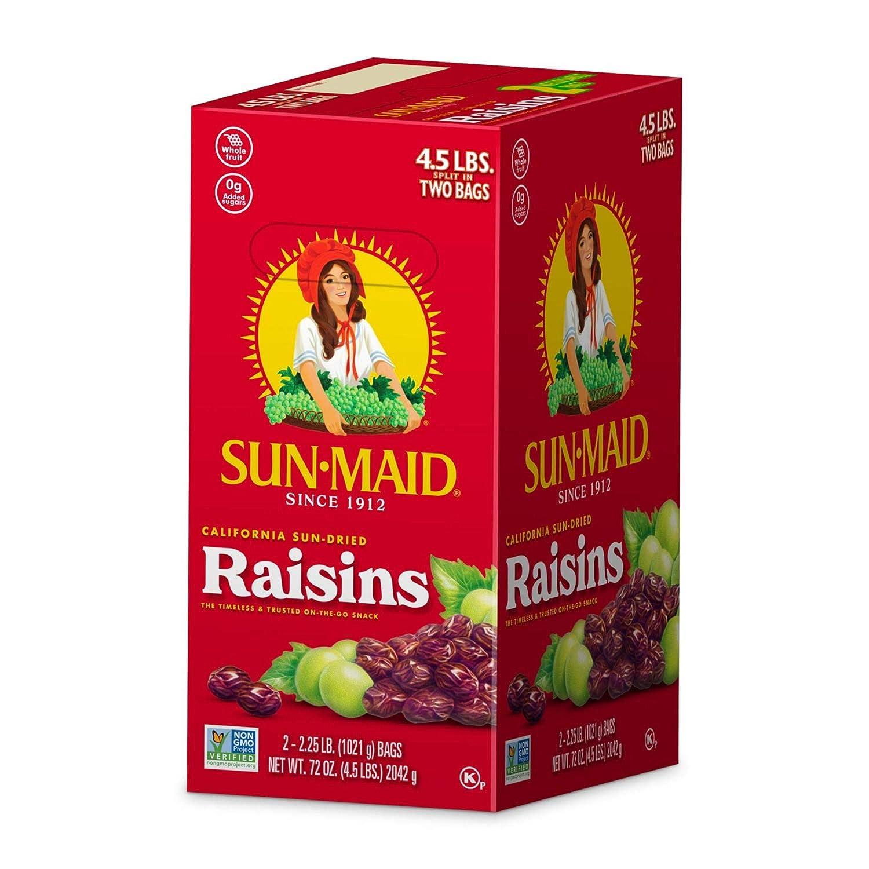 Sun-Maid Organic California Sun Dried Raisins- Dried Fruit Snacks- Healthy Snacks of Kids - 72 oz (4.5 lbs)