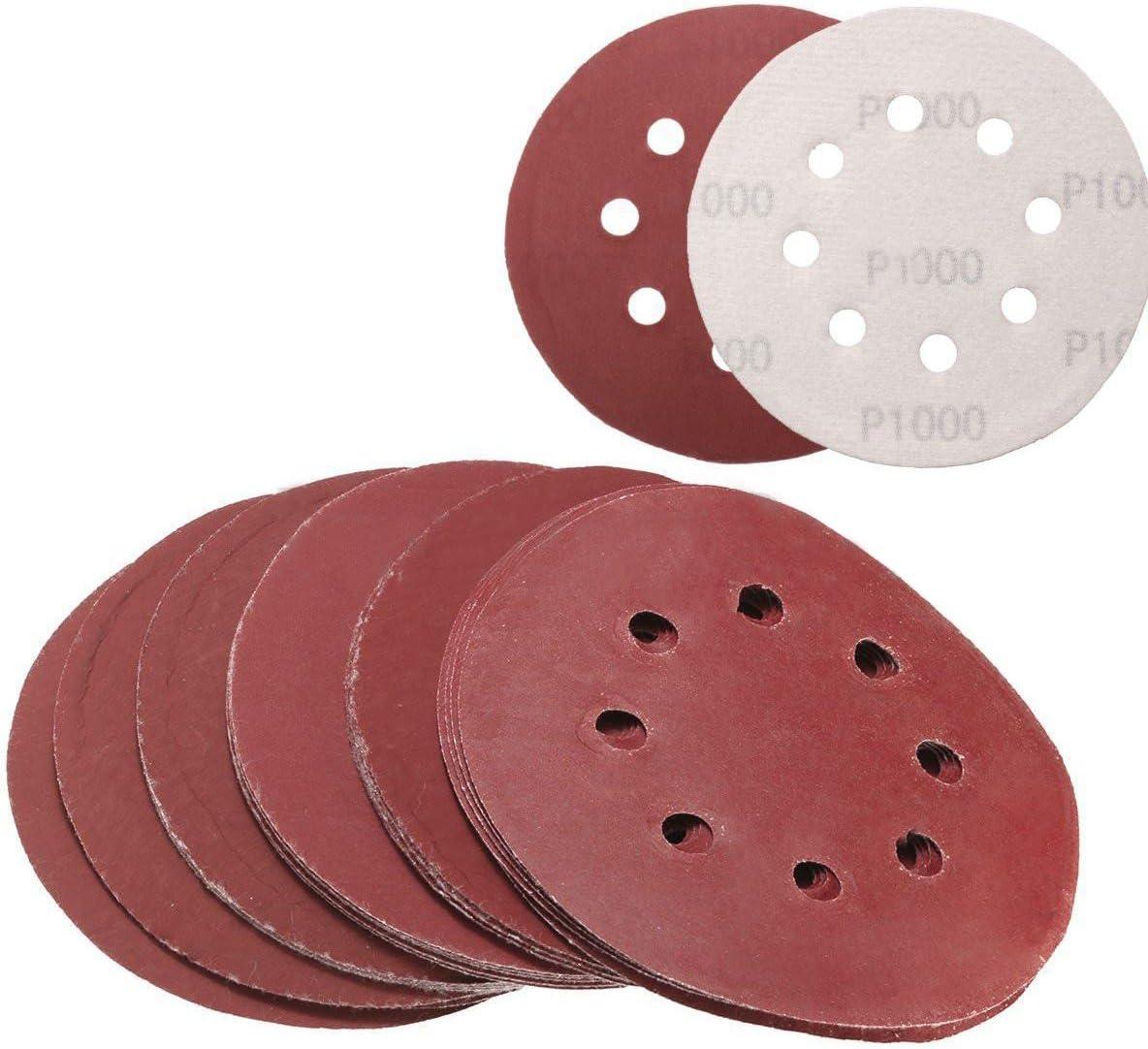 RETYLY 25 Piezas Discos de Lijado de 5 Pulgadas 125 Mm Papel de Lija de 8 Agujeros 800 1000 1200 1500 2000 Grano